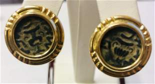 14k Ladies Yellow Gold Ancient Coin Earring With Omega