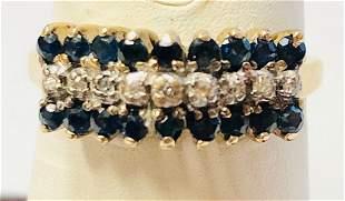 10k Ladies Yellow Gold .04 ct Diamond &Sapphire Ring