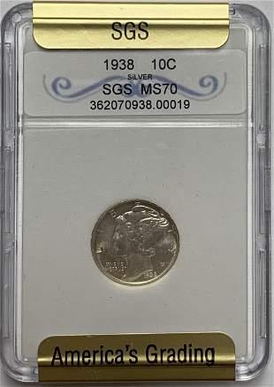 1938-P 10c Mercury Silver Dime Gem BU