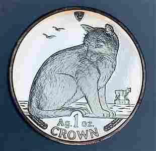 1990 Crown Isle of Man Alley Cat 1 oz Fine Silver Proof