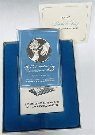 1973 Mother\\'s Day Commemorative Medal Sterling Silver