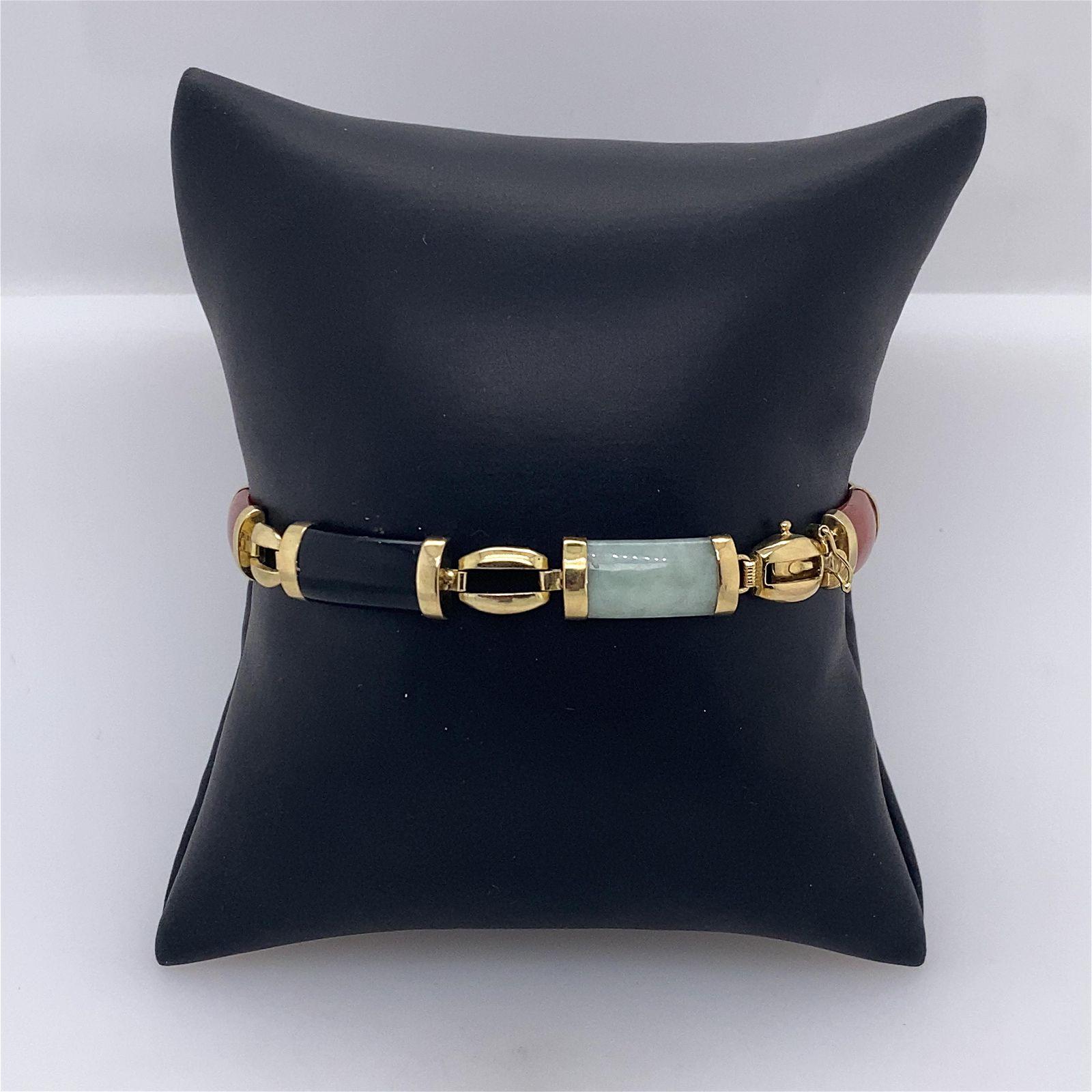 14k Ladies Yellow Gold Multi Stone Bracelet
