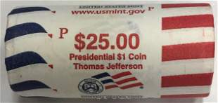 2007-P Thomas Jefferson Presidential 25-Coin Roll $1 US