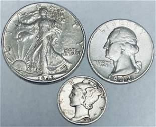 Set of 3 Silver Coins - 1942 Walking Liberty Half