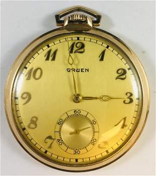 Vintage Gruen 10k Gold Filled Pocket Watch 15 Jewel