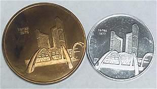 CA 1975 Torex - Toronto City Hall Set of 2 Medals