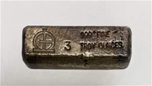Omega M & B Mining 3 toz .999+ Fine Silver Bar -