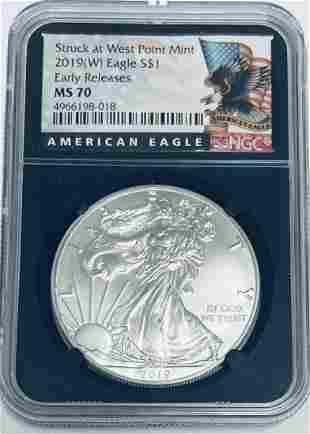 2019 (W) $1American Silver Eagle Struck at West Point