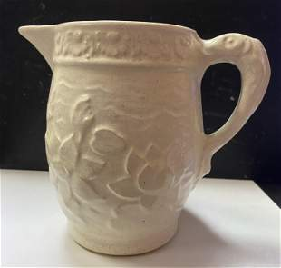 White Ceramic Floral Water Pitcher