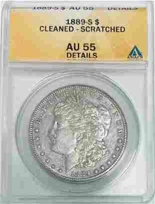 1889-S $1 Morgan Silver Dollar ANACS AU55 Details -