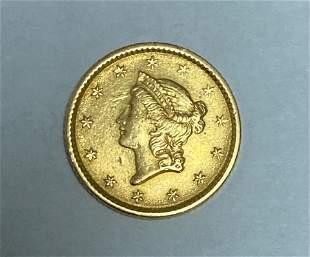 1853 $1 Liberty Head Gold Dollar Type 1 XF