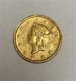 1852 $1 Liberty Head Gold Dollar Type 1 AU