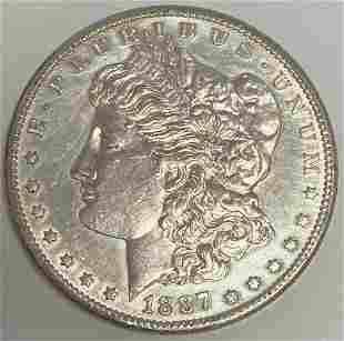 1887 S Morgan Silver Dollar AU