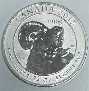 2017 $2 Canada Silver Bighorn Sheep Two Dollars 3/4 oz