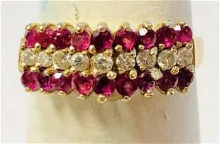 14k ladies Ruby & .10 ct Diamond Pyramid Ring