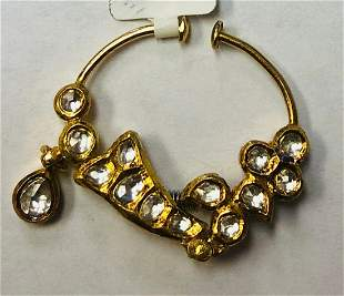 Unique 21 K Eastern Asia Nose Ring With Cubic Zirconia