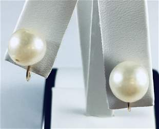 14k ladies Yellow Gold Clip on 10 mm Cultured Pearl