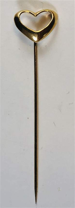 Vintage 14k Yellow Gold Ladies Heart Stick Pin