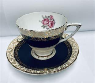 Royal Stafford England #8226 Black and Gold Design