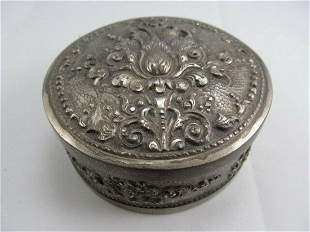 FLOWER THEME LIDDED BOX .800 SILVER FINELY TOOLED XLNT