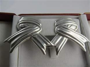 MEXICO STERLING SILVER CLIP BACK RIBBON THEME EARRINGS