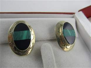 MEXICO STERLING SILVER POSTED INSET MALACHITE STONE