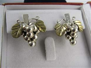 MEXICO STERLING SILVER POSTED GRAPE EARRINGS GOLD