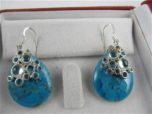 FINE PAIR TURQUOISE / CRYSTALS STERLING SILVER FISH
