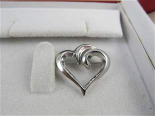 """BEAU FINE STERLING SILVER ATTRACTIVE HEART PIN 7/8"""" H"""