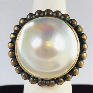Stephen Dwek Ladies Sterling Silver Blister Pearl Ring