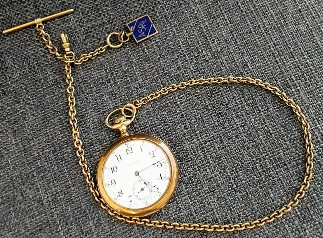 WALTHAM 14KT GOLD OPEN FACE POCKET WATCH WITH 14KT GOLD