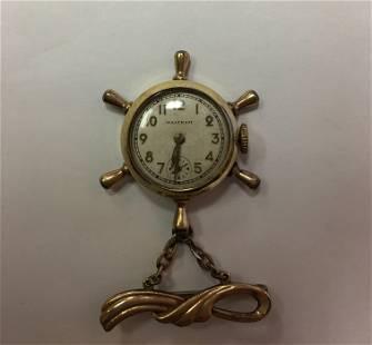 10K Boat wheel Pin Waltham Watch 8.7 dwt Trade Mark is