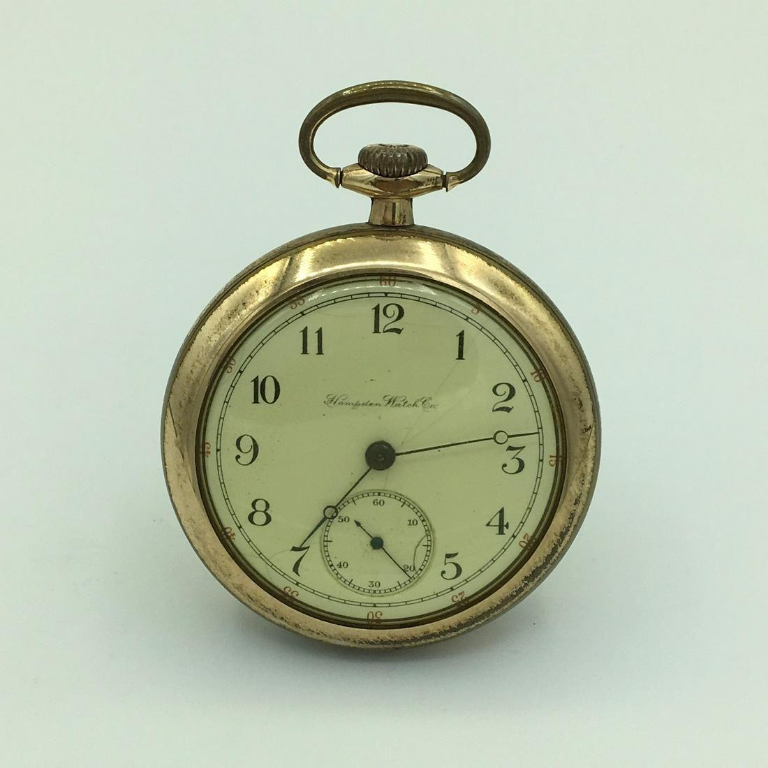 Hampden Watch Co Dueber 15J Gold Plate Open Face Pocket