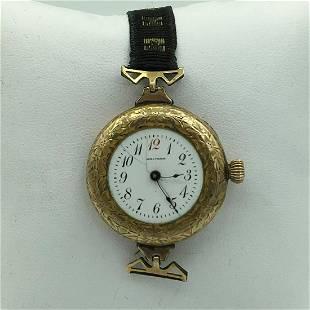 Waltham Gold Plated Ladies Wrist Watch Fabric Band