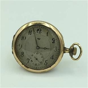 Rare Antique HBJ Gold Plated Open Face Pocket Watch