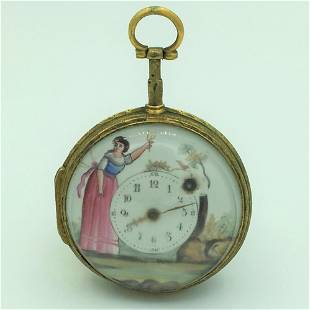 Antique Verge Fusee Key Wind Hand Painted Open Face