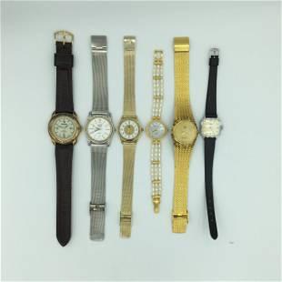 Lot of 6 Quartz Wrist Watches Brittania, L Temps, Lip,