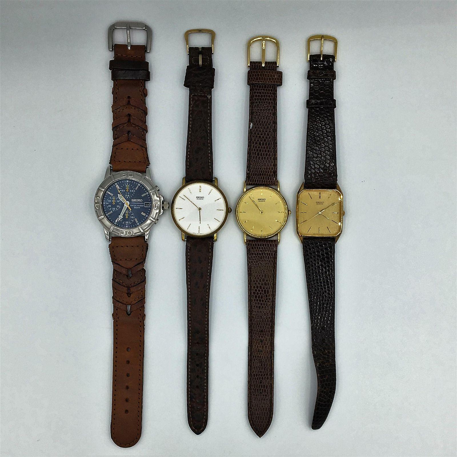 Lot of 4 Seiko Quartz Mens Wrist Watches