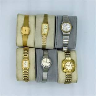 Lot of 6 Seiko Ladies Quartz Wrist Watches As Is