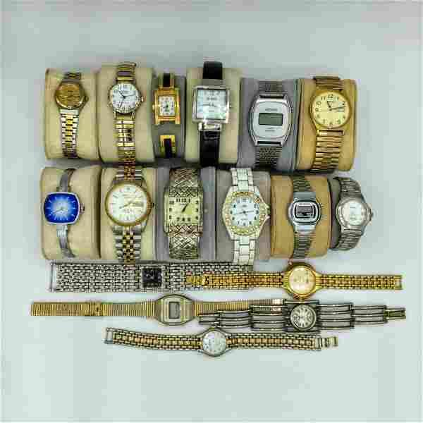 Lot of 17 Mens & Ladies Quartz Watches