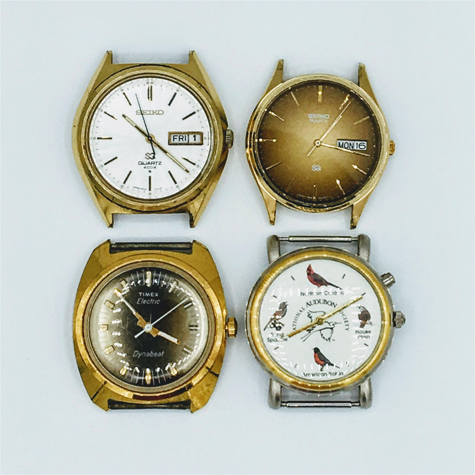 Lot of 4 Mens Wrist Watches 3 Quartz & 1 Electric For