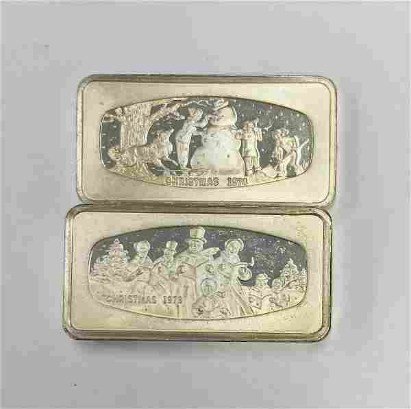 1973 & 1974 Christmas Franklin Mint Sterling Silver