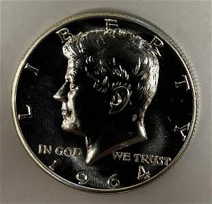 1964 P Kennedy Silver Half Dollar Accent Hair Cameo 50c