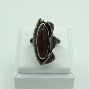Silver and Fire Opal Botanical Theme Ring Size 7 1/2