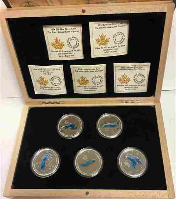 2014/2015 Canada $20 Silver Colorized Five-Coin Proof