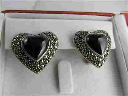 ONYX MARCASITES HEART SHAPE OMEGA BACK POSTED STERLING