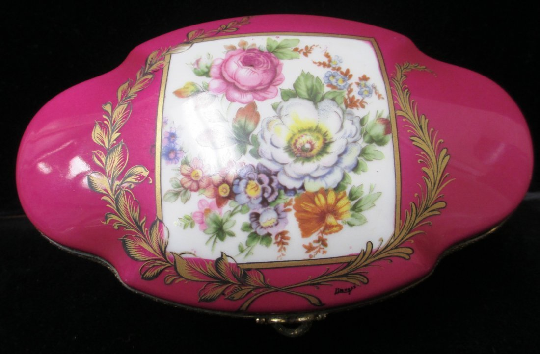 FRENCH LIMODGES PINK PORCELAIN JEWELRY BOX