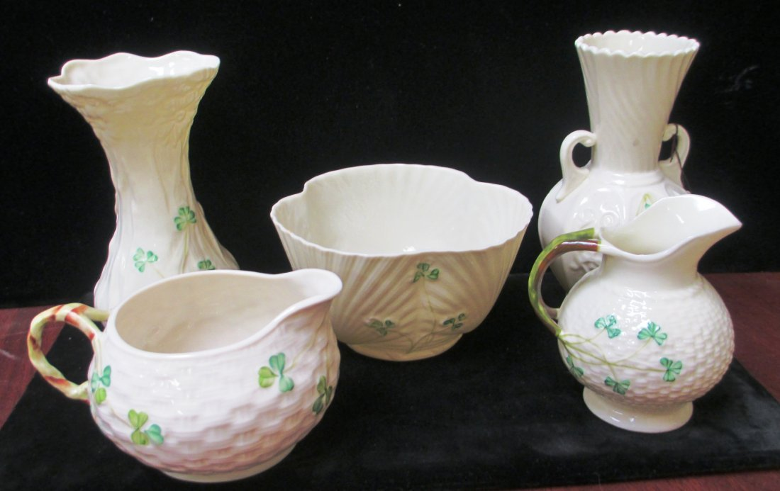 GROUP OF FIVE BULEEK PORCELAIN ASSORTED ITEMS