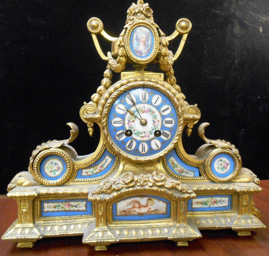 ANTIQUE FRENCH ENAMEL & PORCELAIN BRONZE CLOCK