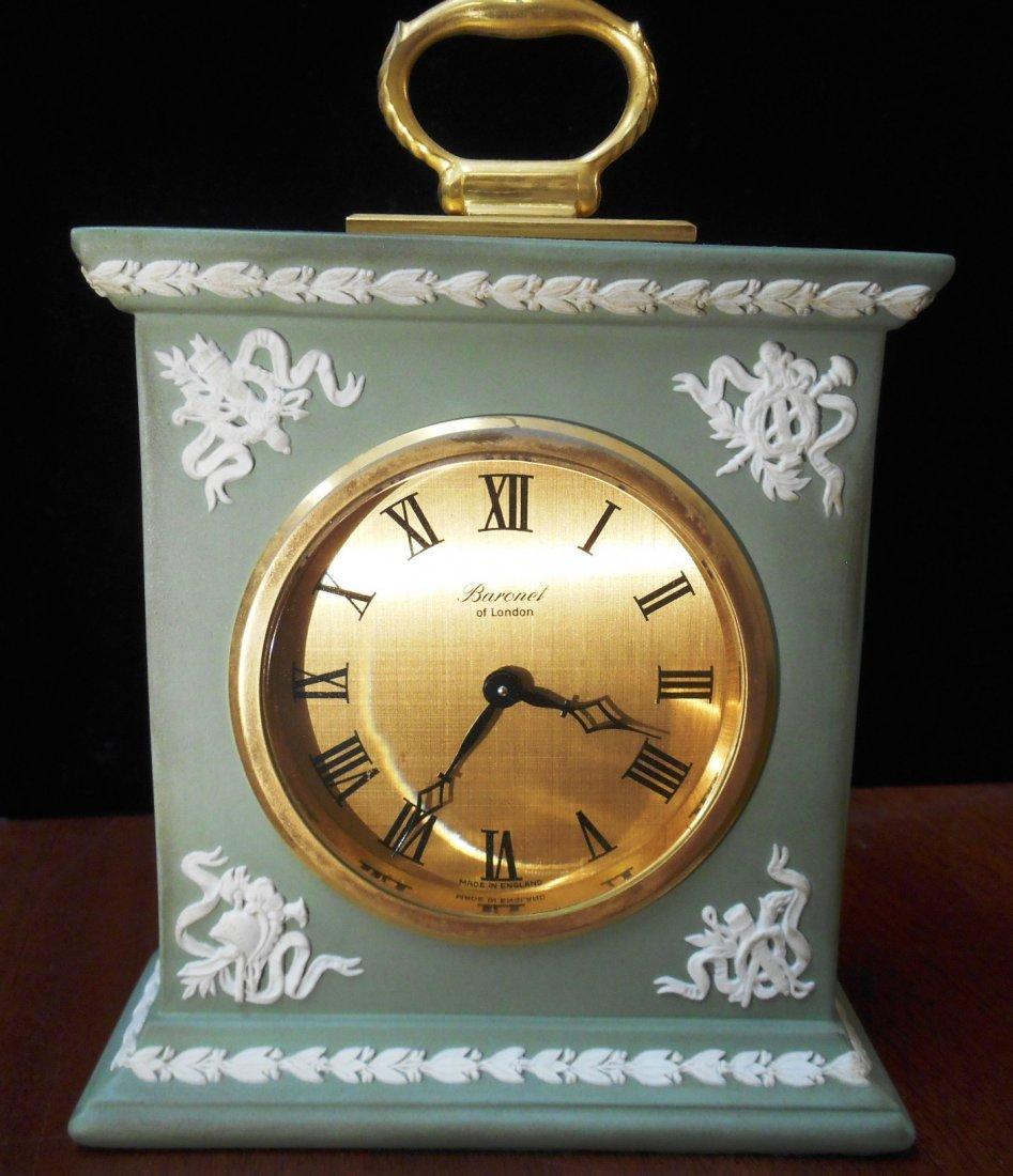 EARLY WEDGEWOOD GREEN JASPERWARE CLOCK